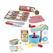 Bundle Includes 2 Items - Melissa & Doug Wooden Make-a-Cake Mixer Set (11 pcs) - Play Food and Kitchen Accessories and Melissa & Doug Slice and Bake Wooden Cookie Play Food Set