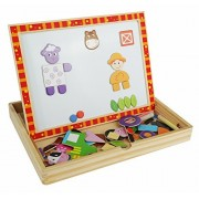 Day on the Farm Magnetic Easel, Chalkboard and Dry-Erase Board - Solid Wood Educational Toy for Boys and Girls Age 3 Years and Up - Includes Chalk, Eraser and Cute Character Magnets