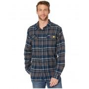 Columbia College Michigan Wolverines Collegiate Flare Guntrade Flannel Long Sleeve Shirt Collegiate Navy Plaid