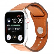Genuine Leather Watch Strap Smart Watch Band Watchband with Rivet Fastener for Apple Watch Series 1 2 3 42mm / Apple Watch Series 5 4 44mm -Brown