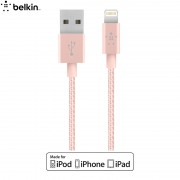 BELKIN Original 1.2m Lightning 8Pin MFI Certified Metallic Data Sync Charge Cable for iPhone iPad iPod (F8J144bt04) - Rose Gold Color