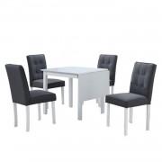 BJORKNew étkező szett 1+4 , fa/szövet , fehér/szürke