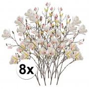 Bellatio flowers & plants 8x Creme Magnolia kunstbloemen tak 105 cm