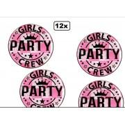 12x Button met verlichting Girls Party Crew