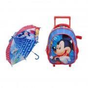 Ghiozdan baieti Mickey Mouse, 35 x 30 x 15 cm, umbrela inclusa
