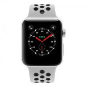 Apple Watch Series 3 Aluminiumgehäuse silber 42mm mit Nike+ Sportarmband pure platinum/schwarz (GPS+Cellular) aluminium silber