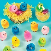 Easter Chicks - 12 mini fluffy chicks in six assorted bright colours. Great as Easter decorations. Size 3cm.
