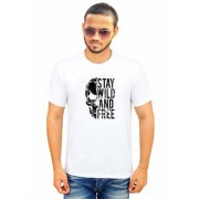 DOUBLE F ROUND NECK HALF SLEEVE WHITE COLOR STAY WILD AND FREE PRINTED T-SHIRTS