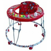 NewAge High Quality Baby Walker - Round Base with Rattles Wheels 9 Months to 1.5 Years (Design May Vary) Red