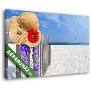 Strandrészlet virágos kalappal (40x25 cm, Vászonkép )