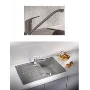 BLANCO DARAS silgránit HD csaptelep - BLANCO ZIA 45 S gránit mosogatótálca szett – gyöngyszürke