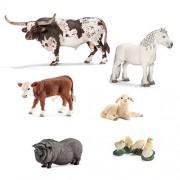 Schleich Farm Animals Set of 6; 13721 Texas Longhorn Bull, 13739 Fell Pony Stallion, 13765 Hereford Calf, 13747...