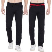 Cliths Sports lower for men stylish/Mens Solid Cotton Trackpants- Pack of 2 (Red Black Black Grey)