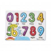 Melissa & Doug Fa készségfejlesztő játék, Puzzle fogantyúval, számok