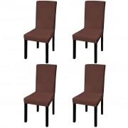 vidaXL Elastyczne pokrowce na krzesła w prostym stylu brąz 4 szt.