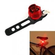 Aluminium fiets fietsen voor achterste staart helm rood wit LED flitslichten veiligheidswaarschuwing lamp fietsen voorzichtigheid licht waterdicht (rood licht rood geval)