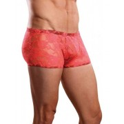 Male Power Sheer Lace Sexy Wonder Boxer Brief Underwear Coral 145-194 USA1