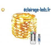 Guirlande LED usb 10m Blanc chaud telecommande ref G10M-2