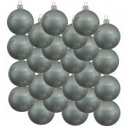 Bellatio Decorations 24x Mintgroene glazen kerstballen 8 cm glans