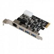 Card PCI-Express extensie pentru 3x USB 3.0 + 1x Gigabit LAN HOPE R