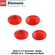 Lego Parts: Dish 2 x 2 Inverted - Radar (PACK of 4 - Transparent Red)