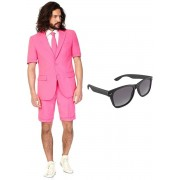 Roze heren zomer kostuum / pak - maat 46 (S) met gratis zonnebril