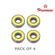 Premsons 608 Ball Bearing - Pack of 4 - for Hand Spinner Fidget Kit and Skateboard, 22x10x7 mm Skate Bearings Toy Replacement Part - Yellow
