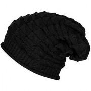 Wrinkled Slouchy Beanie Woolen Winter Cap for Men Women(Black)