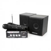 AV380BT Set Amplificatore per Karaoke USB SD BT 2 x Altoparlante 2 x Microfono