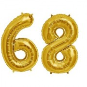 De-Ultimate Solid Golden Color 2 Digit Number (68) 3d Foil Balloon for Birthday Celebration Anniversary Parties
