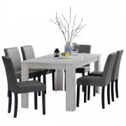 Комплект рустикална маса за хранене с 6 стола [en.casa]® Oslo, 160 x 90 cm, изкуствена кожа, Бял Дъб/Тъмносив
