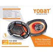Yobat YO-950 3 Way Speaker 6x9 inches Oval 600 Watt Polypropylene Woofer Cone PEI Balanced Dome Tweeter Car Speaker