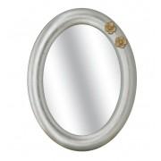 """Weißer ovaler Spiegel mit golden Blumen """"Two flowers"""""""