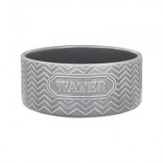 Signature Housewares Embossed Water Dog & Cat Bowl, Gray, X-Small
