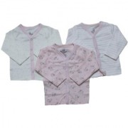 Krivi Kids Pink Color Set of 3 Front Open Full Sleeve Cotton Top For Baby Boys And Baby Girls .
