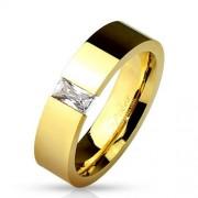 Arany színű modern nemesacél gyűrű cirkónia kővel-7