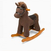 Qxmei Baby Wooden Rocking Horse for 12-72 Months Boys and Girls Plush Toys Children's Kid Toddler Cartoon Stuffed Animal Seat Soft Rocke Chair Birthday Gift,Brown