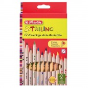 Creioane colorate Herlitz Trilino 12 culori triunghiulare, groase