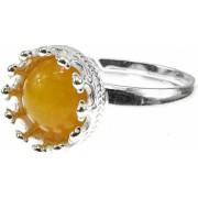 Inel argint reglabil coroana cu jad galben natural 8 MM