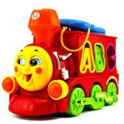 Smart Cartoon Train with Music, Flashing Lights,ABC-123 Shape Blocks – Bump & Go Battery Operated Toys for Ages 3+