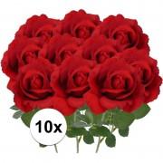 Bellatio flowers & plants 10x Kunstbloem roos Carol rood 37 cm