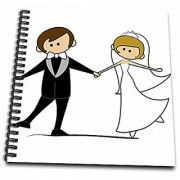 3dRose Dancing Bride & Groom Cartoon - Drawing Book 8 by 8-Inch (db_165464_1)