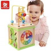 Top Bright Wooden Bead Maze Activity Cube.Roller Maze, Time Learning Clock, Shapes Blocks,Linkage Gear and More Fun Games Activity Center Baby Toy.