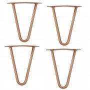 [en.casa]® Hairpin leg hajtűláb 20 cm stílusos asztalláb 4 darabos szett réz kétágú