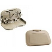 AutoSun Foldable Car Dining Meal Drink Tray Set Of 2 Mahindra Verito Vibe Cs(Beige)