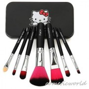 Hello Kitty Imported Set of 7 Black Professional Makeup Brushes Set Very Soft