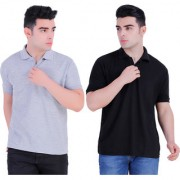 Stars Collection Men's Cotton Polo T- Shirt Comfortable and Stylish T-Shirts with Half Sleeves Grey and Black