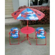 Shopkooky Kids Folding Table and Chairs Set with Umbrella Seat Canopy for 2 (SpiderMan)