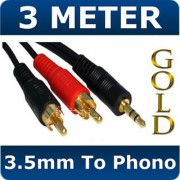 3M Gold 3.5mm Stereo Jack to 2 Male RCA Phono Cable
