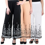 NumBrave Black Beige White Viscose Printed Palazzos (Pack of 3)